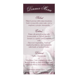 Burgundy Pink and White Floral Menu