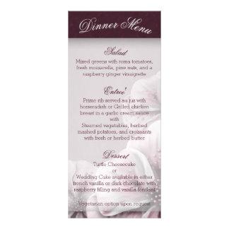 Burgundy Pink and White Floral Menu Rack Card Design