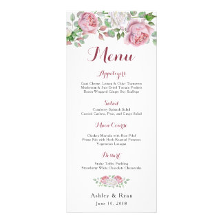 Burgundy Pink Chic Rose Floral Wedding Menu