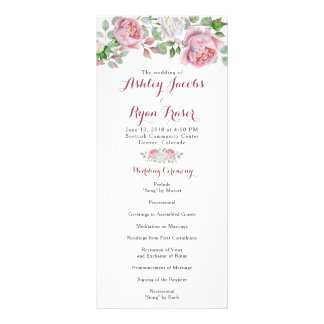 Burgundy Pink Chic Rose Floral Wedding Program