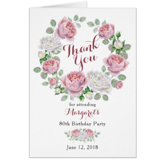Burgundy Pink Country Rose 80th Birthday Thank You Card