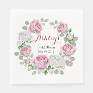 Burgundy Pink Country Rose Wreath Bridal Shower Paper Napkin