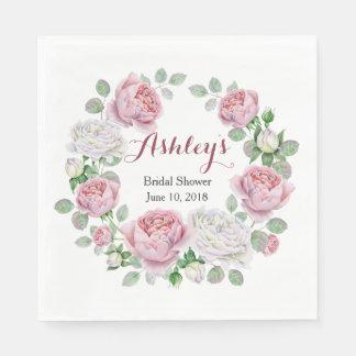 Burgundy Pink Country Rose Wreath Bridal Shower Paper Napkins