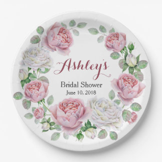 Burgundy Pink Country Rose Wreath Bridal Shower Paper Plate