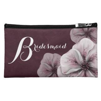 Burgundy Pink Floral Bridesmaid Makeup Bags