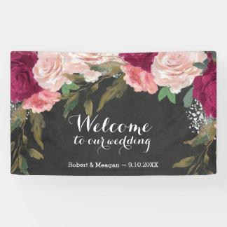 burgundy pink floral chalkboard welcome banner