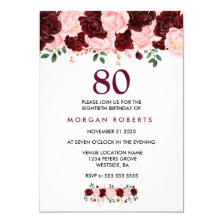 Burgundy & Pink Flowers 80th Birthday Invite