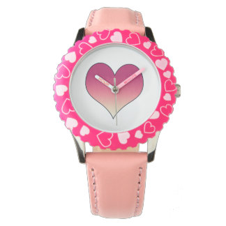 Burgundy Pink Heart Watch
