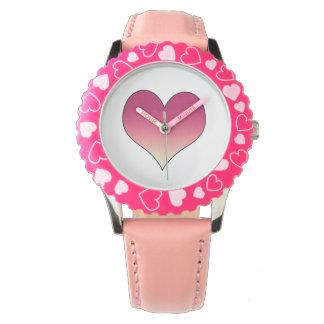 Burgundy Pink Heart Wristwatches