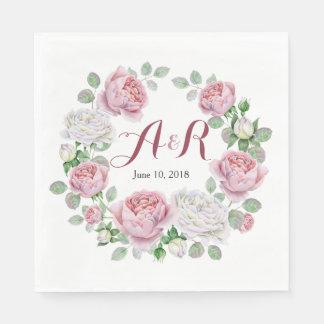 Burgundy Pink Monogram Rose Floral Wedding Disposable Napkin