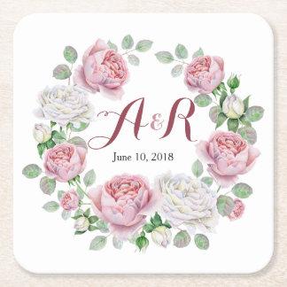 Burgundy Pink Monogram Rose Floral Wedding Square Paper Coaster