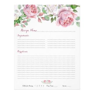 Burgundy Pink Rose Floral Binder Recipe Inserts Flyer