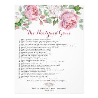 Burgundy Pink Rose Floral Bridal Shower Games Flyer