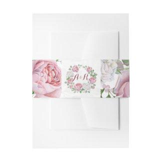 Burgundy Pink Rose Floral Monogram Wedding Invitation Belly Band
