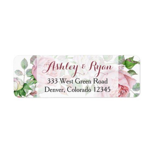 Burgundy Pink Rose Floral Wedding Address Labels