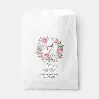 Burgundy Pink Rose Floral Wedding Thank You Favour Bag