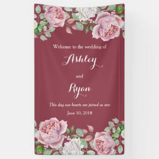 Burgundy Pink Rose Floral Wedding Welcome Banner