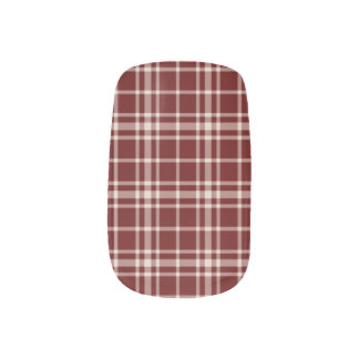 Burgundy Plaid Nail Art