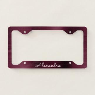 Burgundy Purple Brushed Metal Monogram License Plate Frame