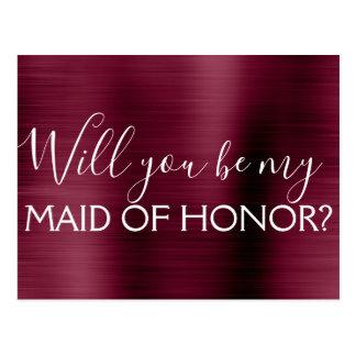 Burgundy Purple Elegant and Modern Maid of Honor Postcard