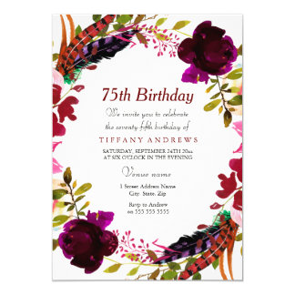 Burgundy Purple Floral 75th Birthday Party Invite