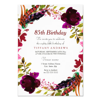 Burgundy Purple Floral 85th Birthday Party Invite