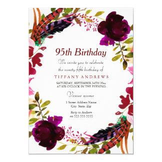 Burgundy Purple Floral 95th Birthday Party Invite