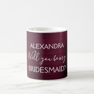 Burgundy Purple Modern and Chic Bridesmaid Coffee Mug