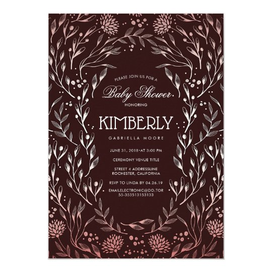 Burgundy Red and Rose Gold Floral Baby Shower Card
