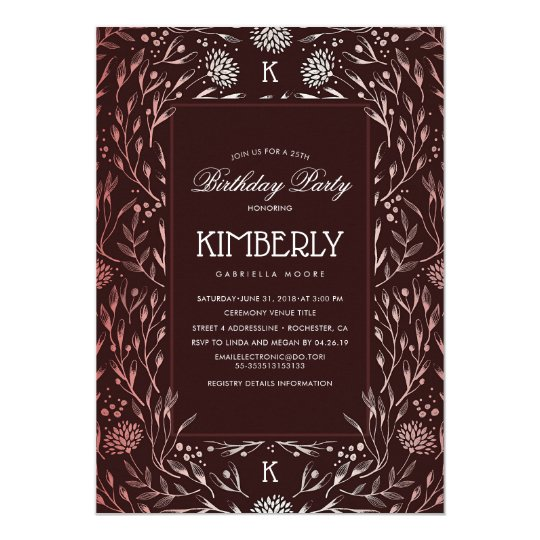 Burgundy Red and Rose Gold Floral Birthday Party Card
