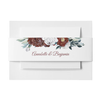 Burgundy Red and White Flowers Wedding Invitation Belly Band