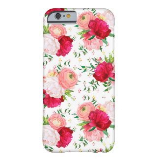 Burgundy red and white peonies, ranunculus, rose barely there iPhone 6 case