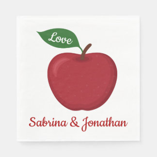 Burgundy Red Apple Love Fall Wedding Party Country Paper Napkin
