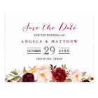 Burgundy Red Chic Floral Wedding Save the Date Postcard