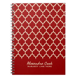 Burgundy Red & Cream Quatrefoil Pattern Notebook