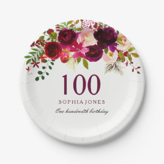 Burgundy Red Floral Boho 100th Birthday Party Paper Plate