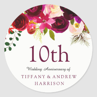 Burgundy Red Floral Boho 10th Wedding Anniversary Classic Round Sticker