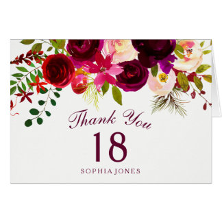 Burgundy Red Floral Boho 18th Birthday Thank You Card