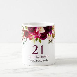 Burgundy Red Floral Boho 21st Birthday Gift Coffee Mug