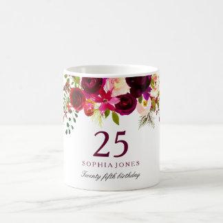 Burgundy Red Floral Boho 25th Birthday Gift Coffee Mug