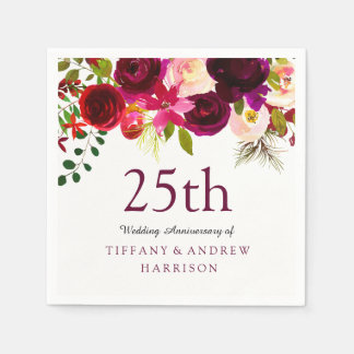 Burgundy Red Floral Boho 25th Wedding Anniversary Disposable Napkins