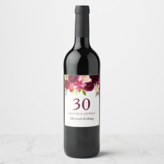 Burgundy Red Floral Boho 30th Birthday Party Wine Label