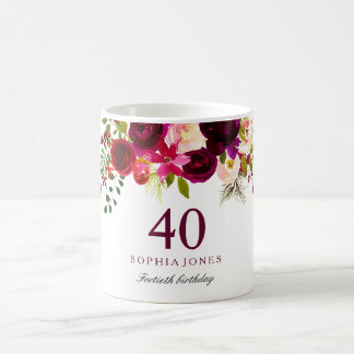 Burgundy Red Floral Boho 40th Birthday Gift Coffee Mug