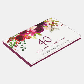 Burgundy Red Floral Boho 40th Wedding Anniversary Guest Book
