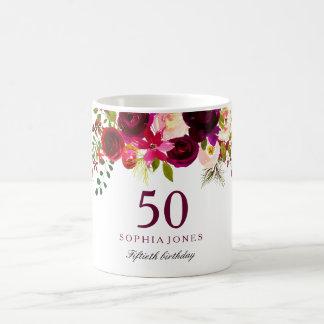 Burgundy Red Floral Boho 50th Birthday Gift Coffee Mug