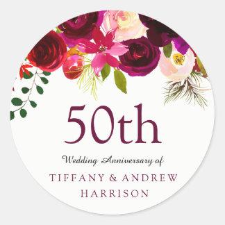Burgundy Red Floral Boho 50th Wedding Anniversary Classic Round Sticker