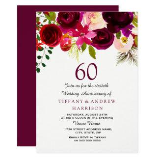 Burgundy Red Floral Boho 60th Wedding Anniversary Card