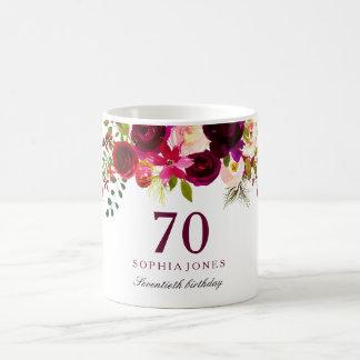 Burgundy Red Floral Boho 70th Birthday Gift Coffee Mug