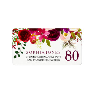 Burgundy Red Floral Boho 80th Birthday Party Label