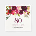 Burgundy Red Floral Boho 80th Birthday Party Paper Napkin